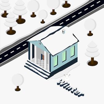 Isometric house trees snowman winter snowfall  background illustration