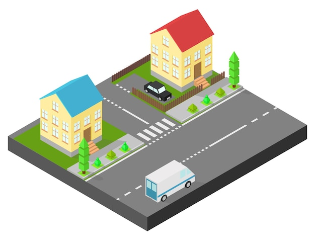 Isometric house. two houses on the same street. sidewalk with trees, the road the car. the yard is fenced with a wooden fence.
