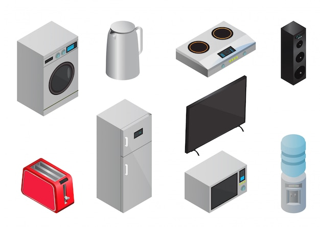 Isometric household appliances icons set
