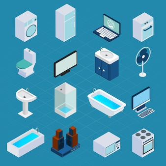Isometric household appliances