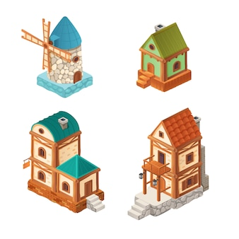 Isometric houses in retro style, illustration of cartoon one and two-story house, mill isolated on white for computer game 3d design.