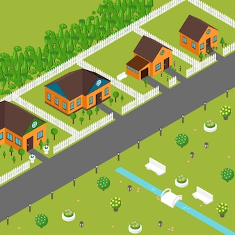 Isometric houses on suburb street. private cottages in peaceful neighborhood, view from above. game style town cozy houses and green lawns, isometric buildings