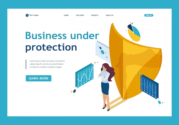 Isometric how to ensure full safety of your business, lawyer girl. website template landing page