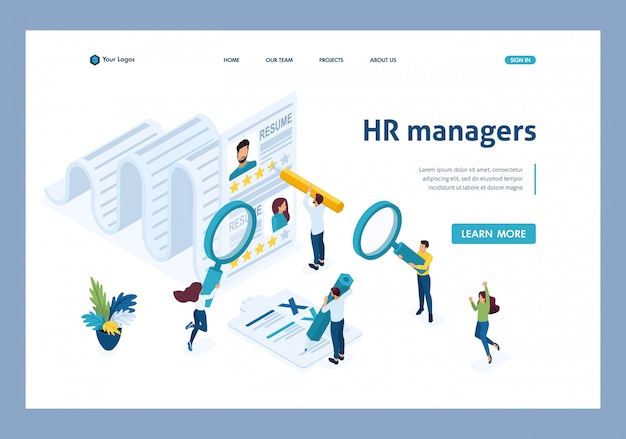 Isometric hr manager, consideration of the summary, recruiting concept landing page