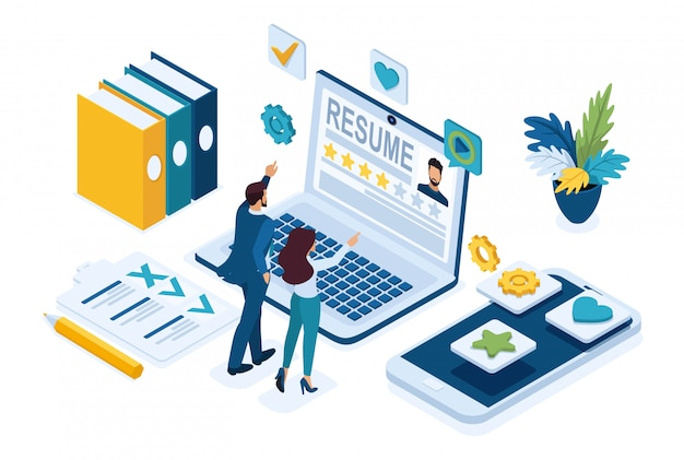Isometric hr manager, service to find employees, managers consider candidates, applicants.