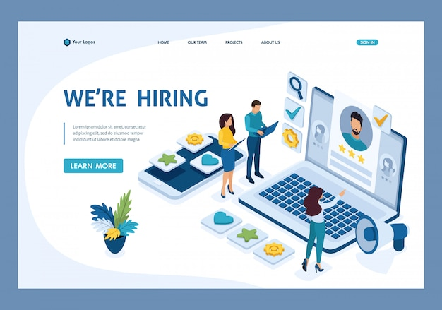 Isometric hr manager, we hire employees to our company, business recruiting concept landing page