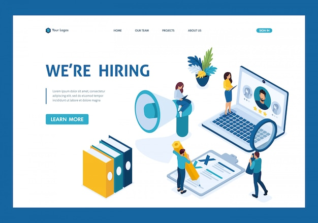Isometric hr manager, we hire employees to our company, recruiting concept landing page