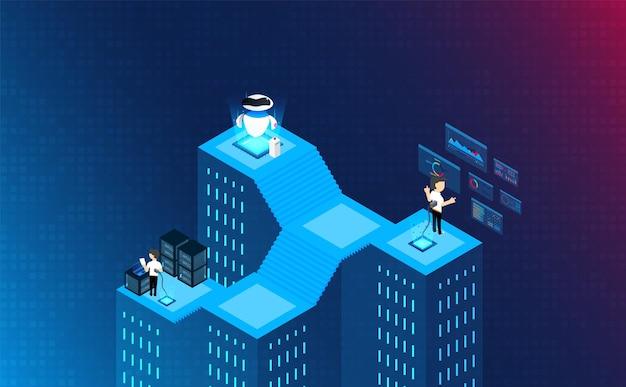 等尺性の人間は、マシンチップの概念と接続します。未来の概念。ベクトルとイラスト