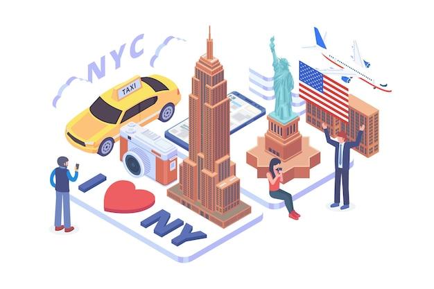 Isometric i love new york vector concept