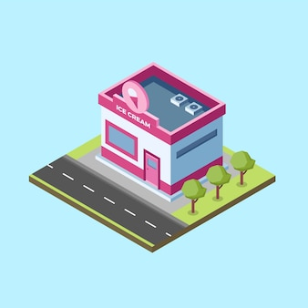 Isometric ice cream shop
