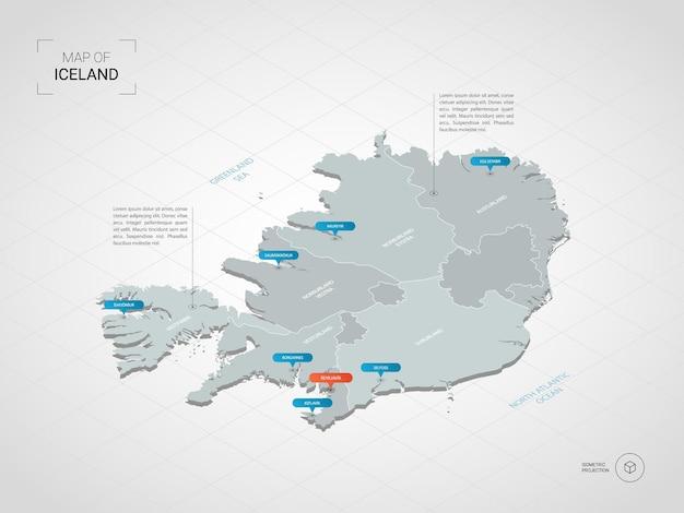 Изометрическая карта исландии. стилизованная иллюстрация карты с городами, границами, столицей, административным делением и указателями; градиентный фон с сеткой.