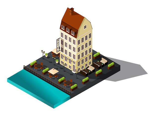 等尺性のアイコン、海沿いの古代の家、ホテル、デンマーク、コペンハーゲン、パリ、歴史的な市内中心部、古い建物のイラスト
