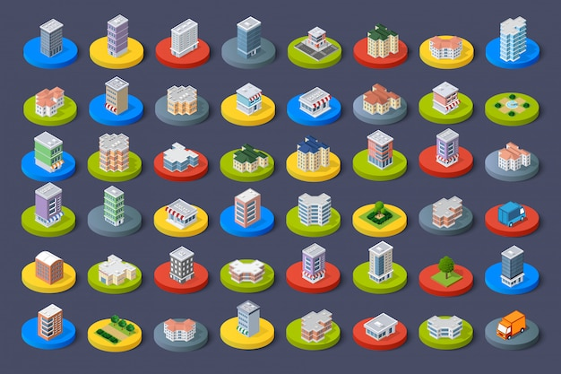 Isometric icon city buildings