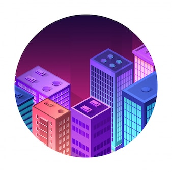 Isometric icon of a city