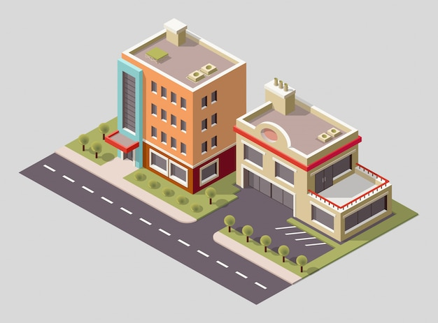 Isometric icon of factory building and industrial structures