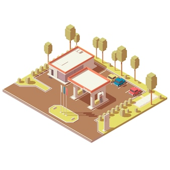 Isometric icon of highway fuel filling station
