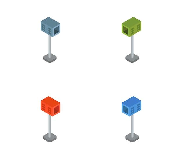 Isometric icon mail box set