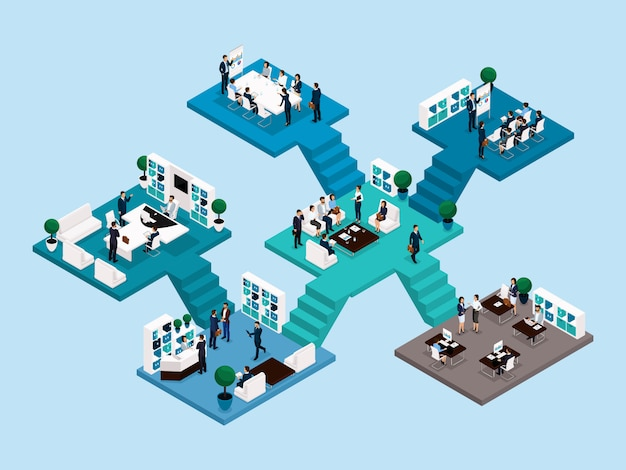 Isometric icon of many storey office building with stairs and bathrooms