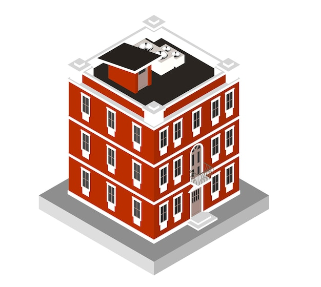 アイソメトリックアイコンモダンな家。窓とエアコンのある都会の住居ビル。