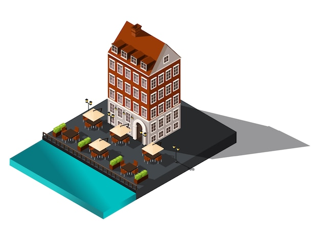 Isometric icon,  old house by the sea, hotel, restaurant, denmark, copenhagen, paris, historical city center, old building for  illustrations