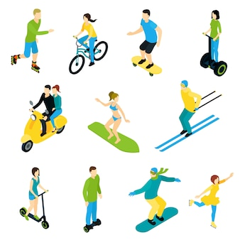 Isometric icon people ride set
