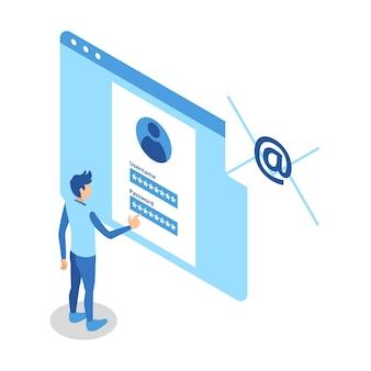 사용자 이름과 암호를 작성하는 컴퓨터 화면 앞에 서 있는 남자를 나타내는 아이소메트릭 아이콘