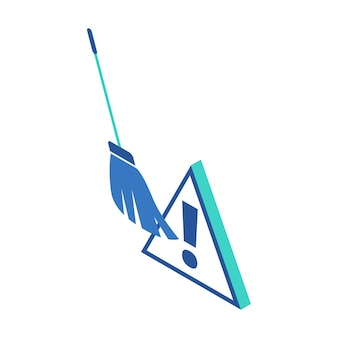 Isometric icon representing broom to clean up the dangerous files