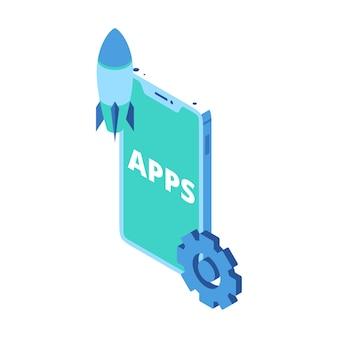 スマートフォンアプリ製品の発売を表すアイソメトリックアイコン
