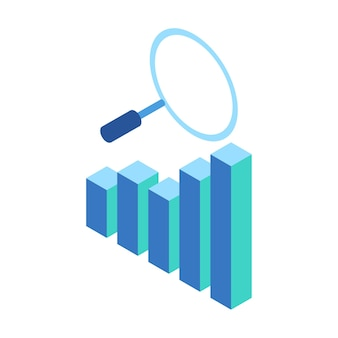 Isometric icon representing magnifying glass to view charts