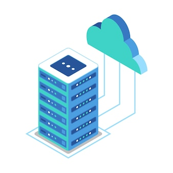 Isometric icon representing servers and clouds to access data