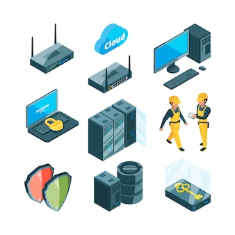 Isometric icon set of different electronic systems