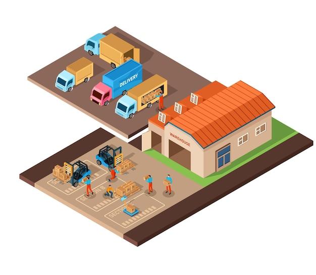 Изометрический набор иконок, представляющий складское здание