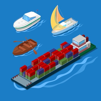 Isometric icon set with container ship vacation yacht and boats.