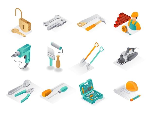 Изометрические иконки наборов строительство и строительство