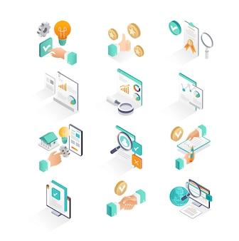 アイソメトリックアイコンは、ビジネスと投資の分析を設定します