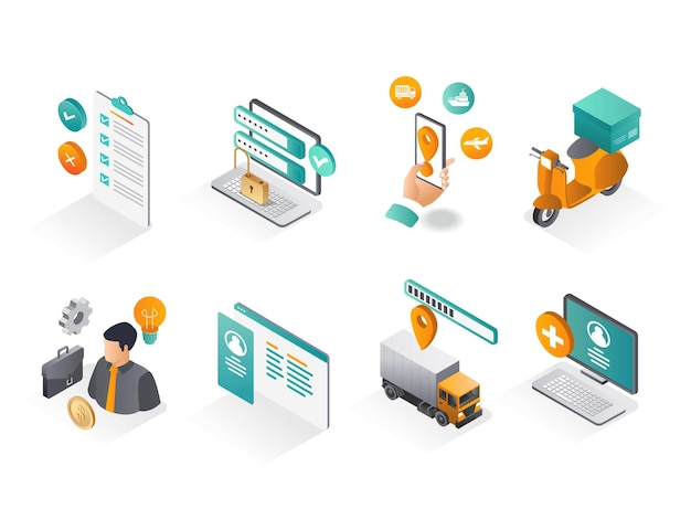 Isometric icon sets business and delivery