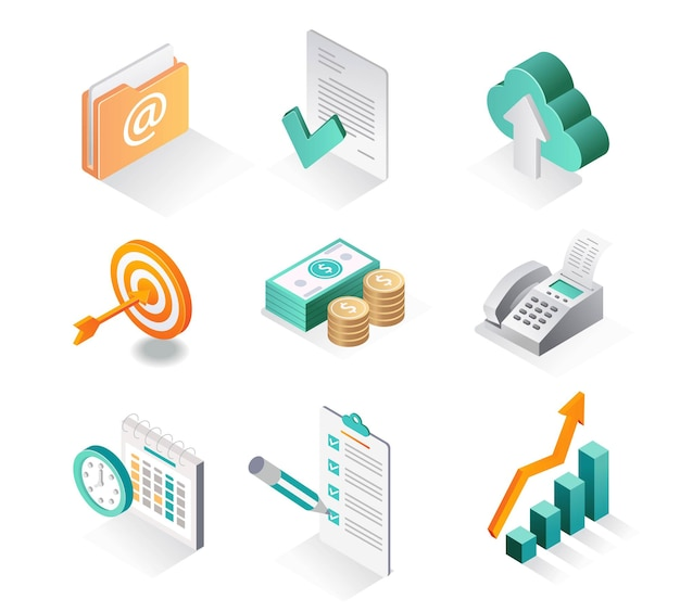 Isometric icon sets business developer and email