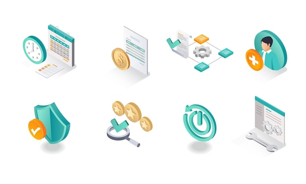 Isometric icon sets business strategy plan