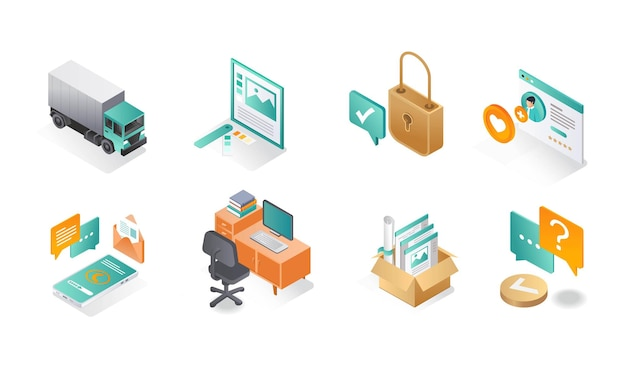 Isometric icon sets office and business