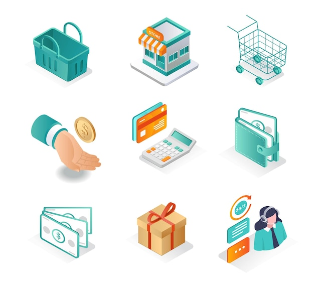 Isometric icon sets online shopping and ecommerce