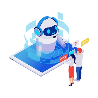 Isometric icon with smiling robotic chatbot on tablet talking to people 3d