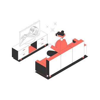 Isometric icon with woman wearing vr glasses playing game on tv