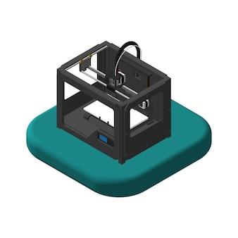 Изометрические иконы 3d-принтер. пиктограммы 3d-принтер. отдельные векторные иллюстрации