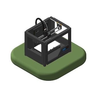 Изометрические иконы 3d-принтер. пиктограммы 3d-принтер. отдельные векторные иллюстрации.