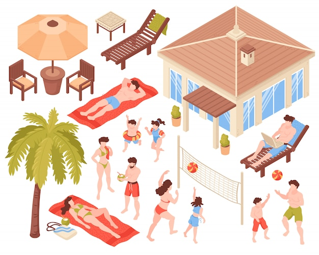 Isometric icons beach house tropic holidays people set with isolated human characters house and tropical plants images vector illustration
