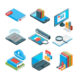Isometric icons of electronic books