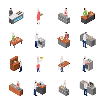 Isometric icons of food court