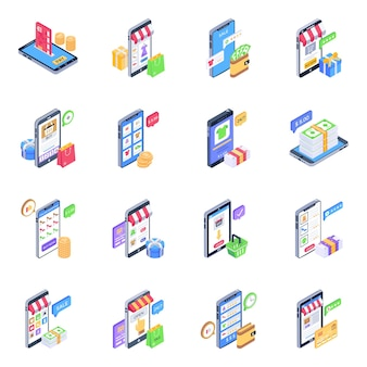 Isometric icons of mcommerce pack
