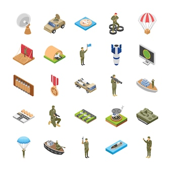 Isometric icons of military special forces