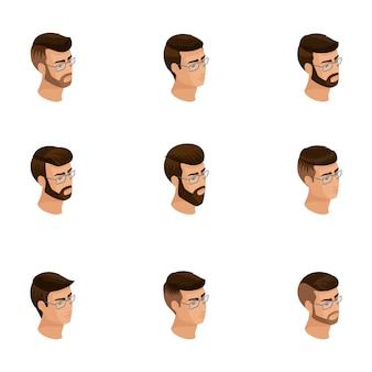 Изометрические иконки головы прическа, лица, глаза, губы, мужские эмоции. качественная изометрия людей для иллюстраций